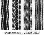 black tire tracks wheel car or... | Shutterstock .eps vector #763352860