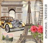 paris vintage poster. | Shutterstock .eps vector #763353118