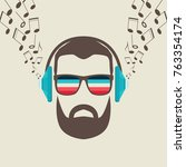 hipster men face with headphone ... | Shutterstock .eps vector #763354174