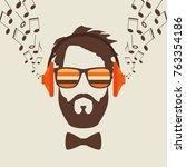 hipster men face with headphone ... | Shutterstock .eps vector #763354186