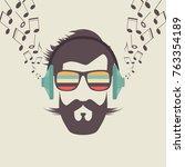 hipster men face with headphone ... | Shutterstock .eps vector #763354189