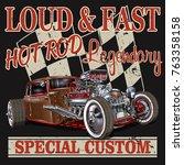 vintage hot rod poster | Shutterstock .eps vector #763358158