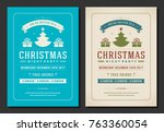 christmas party invitation... | Shutterstock .eps vector #763360054