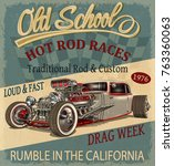 vintage hot rod poster | Shutterstock .eps vector #763360063