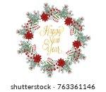 christmas wreath hand drawn... | Shutterstock .eps vector #763361146