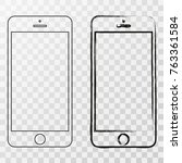 mobile iphone outline.... | Shutterstock .eps vector #763361584