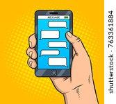 smart phone messaging pop art...   Shutterstock .eps vector #763361884