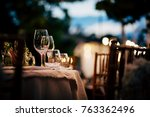 luxury table setting for party  ... | Shutterstock . vector #763362496