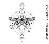 beetle bug tattoo drawing.... | Shutterstock .eps vector #763362916