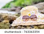 accesseries summer hat and... | Shutterstock . vector #763363354