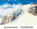 group of climbers reaches the... | Shutterstock . vector #763368484