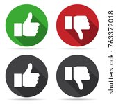 thumbs up and thumbs down icons ... | Shutterstock .eps vector #763372018