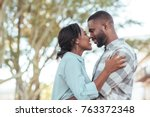 happy young african couple...   Shutterstock . vector #763372348