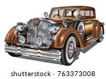 retro car isolated. | Shutterstock .eps vector #763373008