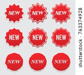 new tag icon  label ang sticker.... | Shutterstock .eps vector #763374928