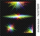 rainbow glowing lights set.... | Shutterstock .eps vector #763375099