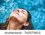 portrait of a woman floating in ... | Shutterstock . vector #763375813