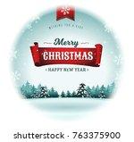 merry christmas holidays... | Shutterstock .eps vector #763375900