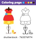 coloring page with fashionable... | Shutterstock .eps vector #763376974