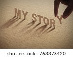 my story wood word on... | Shutterstock . vector #763378420
