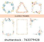 vector set of frames. flowers ... | Shutterstock .eps vector #763379428