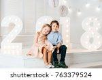 kids in love. handsome boy and... | Shutterstock . vector #763379524