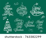 merry christmas and happy new... | Shutterstock .eps vector #763382299