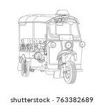 taxi tuk tuk thailand travel... | Shutterstock . vector #763382689
