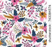 new year seamless pattern with... | Shutterstock .eps vector #763384576