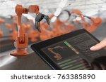 programmer is controlling... | Shutterstock . vector #763385890