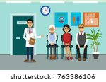 doctors and patients in the... | Shutterstock .eps vector #763386106