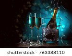 new year's photo of two glasses ... | Shutterstock . vector #763388110