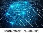 3d illustration fingerprint... | Shutterstock . vector #763388704