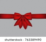 decorative realistic red bow... | Shutterstock .eps vector #763389490