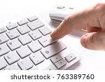 pressing enter button on the... | Shutterstock . vector #763389760