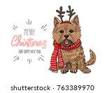 christmas card. norwich terrier ... | Shutterstock .eps vector #763389970