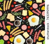 breakfast on black background.... | Shutterstock .eps vector #763390996