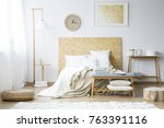 paper clock and gold painting... | Shutterstock . vector #763391116