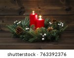 second advent   decorated...   Shutterstock . vector #763392376