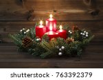 fourth advent   decorated... | Shutterstock . vector #763392379