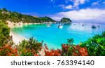 beautiful turquoise beaches of... | Shutterstock . vector #763394140
