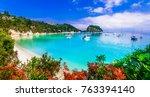 beautiful turquoise beaches of...   Shutterstock . vector #763394140