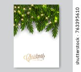 merry christmas invitation with ... | Shutterstock .eps vector #763395610