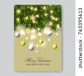 merry christmas invitation with ... | Shutterstock .eps vector #763395613