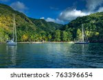 sail boats anchored in the... | Shutterstock . vector #763396654