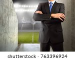 cropped image of a young soccer ... | Shutterstock . vector #763396924