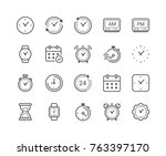 minimal set of time and clock... | Shutterstock .eps vector #763397170