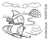 kids coloring page. penguin on... | Shutterstock . vector #763397218
