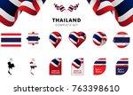 thailand complete set. vector... | Shutterstock .eps vector #763398610