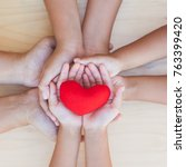 red heart in parent and... | Shutterstock . vector #763399420